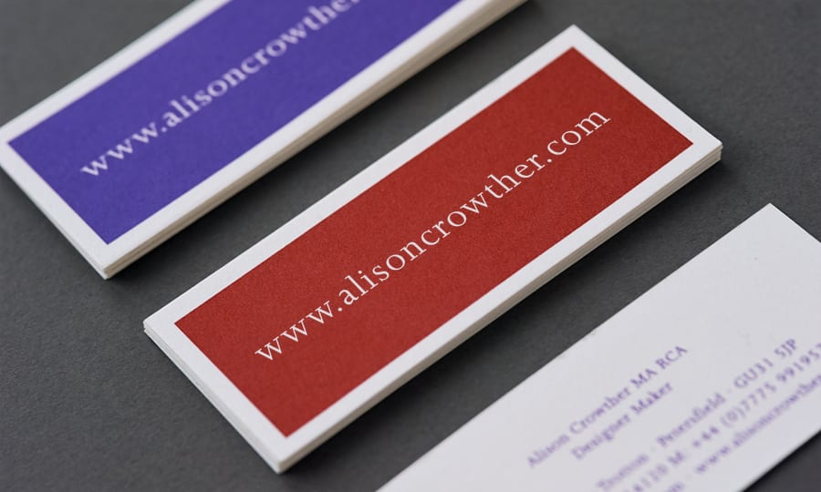 Alison Crowther Catalogue - Business Cards - detail
