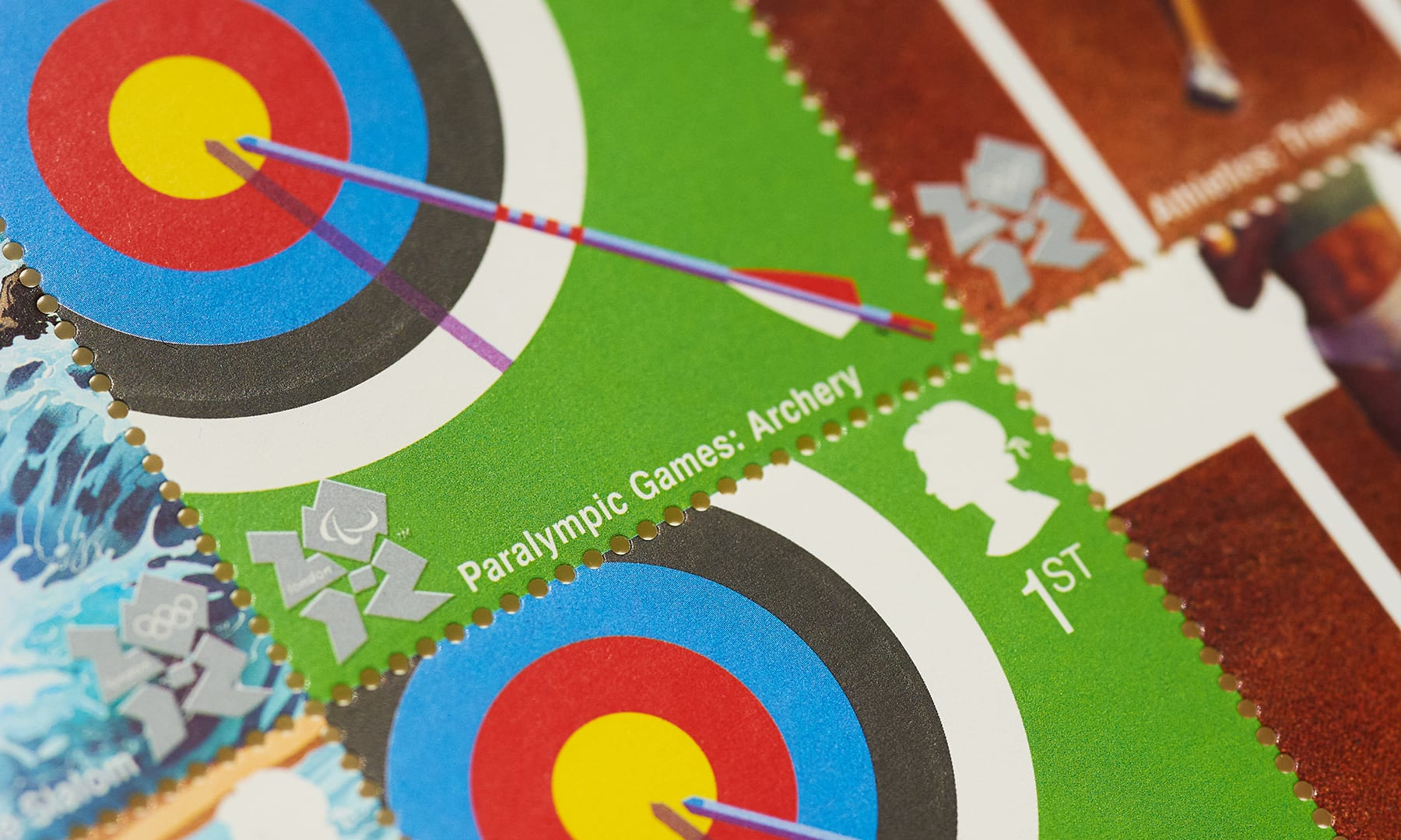 Royal Mail - Paralympic Archery stamp - closeup