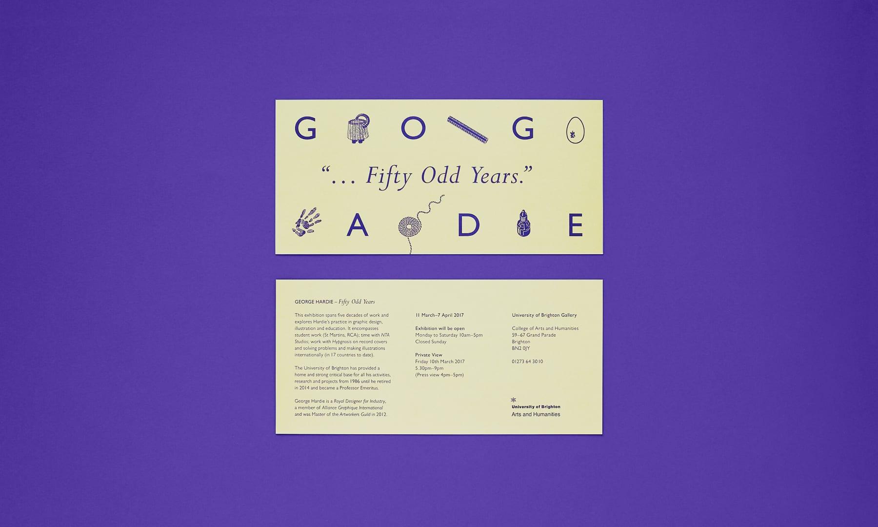 Fifty Odd Years - George Hardie - printed invitation 2