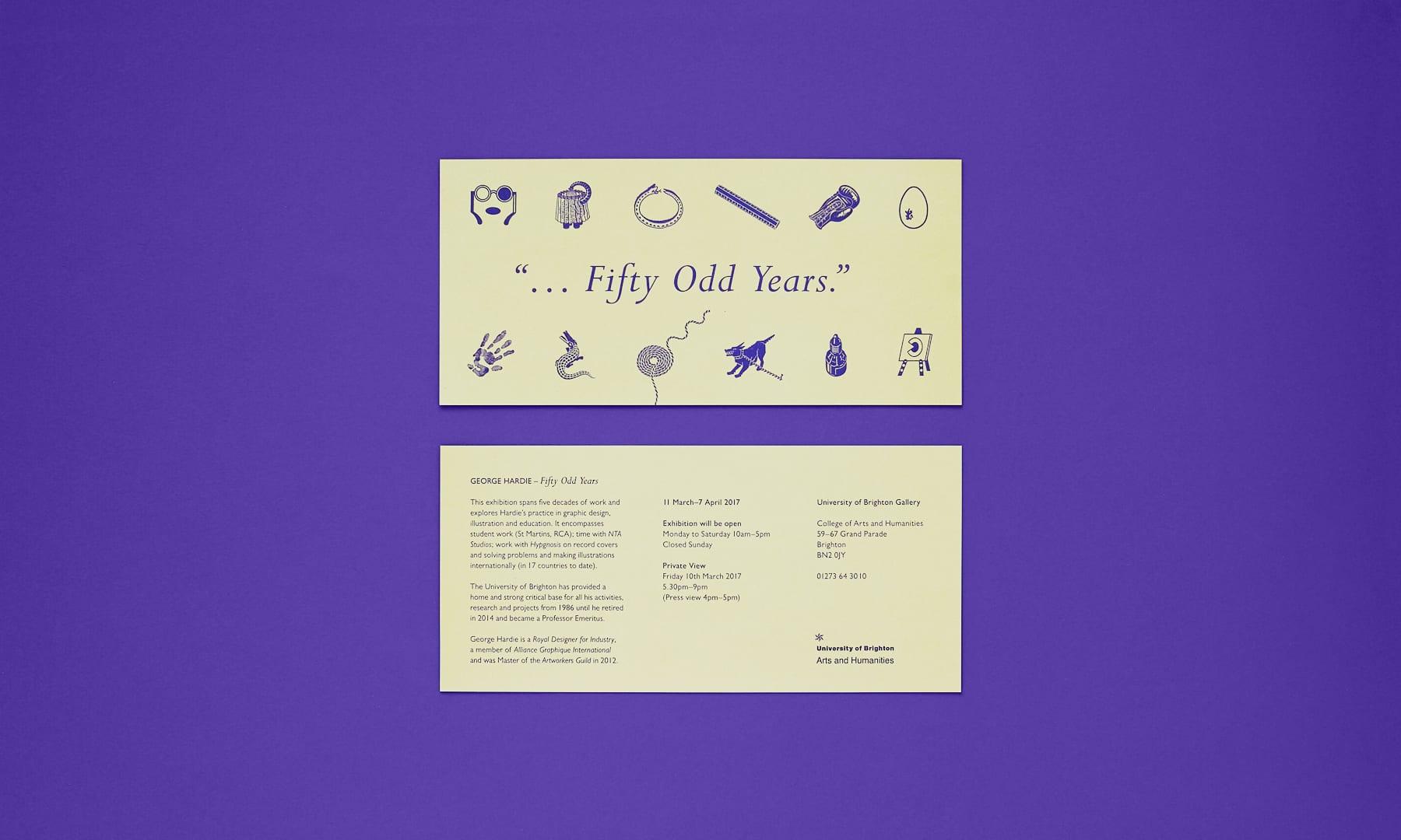 Fifty Odd Years - George Hardie - printed invitation 1