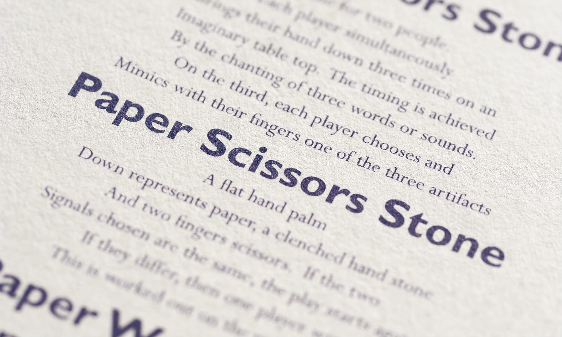 Paper Scissors Stone Booklet - closeup